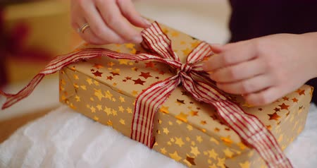 focus on foreground : Midsection Of Woman Tying Ribbon On Christmas Present