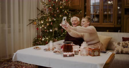 sofá : Cheerful Woman Taking Selfie With Grandfather During Christmas Vídeos
