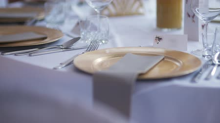 toalha de mesa : Luxury Decorated Table Before Party Event Stock Footage