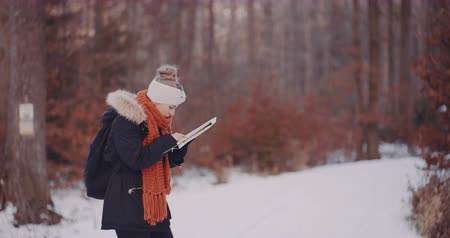 viajero : Female Tourist Reading Map in Woods in Winter