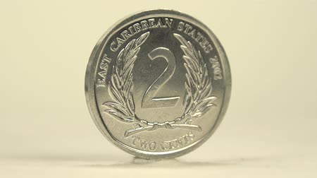 pieniądze : East Caribbean 2 Cents A rotating 2 cents of East Caribbean in white backdrop.