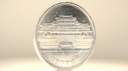 coreano : 1 Cent of North Korea Coin North Korean one cent coin in white background. Stock Footage
