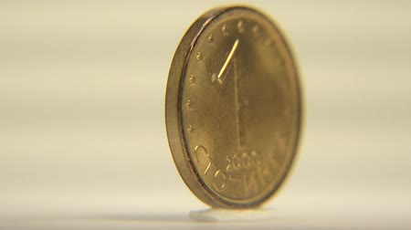 bulgaristan : 1 Bulgarian Lev Presenting the one cent coin of Bulgaria in rotating motion. Stok Video