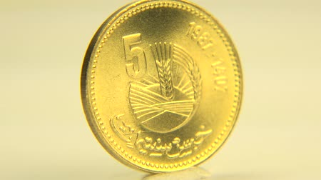 mesquita : (Perfect Loop) 5 Moroccan Coin This is a 5 santimat coin of Morocco in white background. Vídeos
