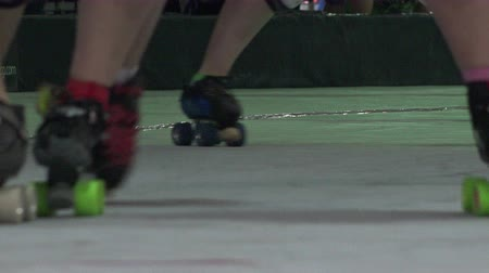 skate : Roller Skaters - Skates Closeup Stock Footage