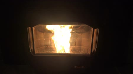 diabeł : Perfect Loop Blazing Fire from Wood Pellet Stove. This is a seamless looped video repeated 3 times for the users convenience to showcase the high quality and undetectable perfect loop transition. Closeup view of the glowing fiery orange fire. Wideo