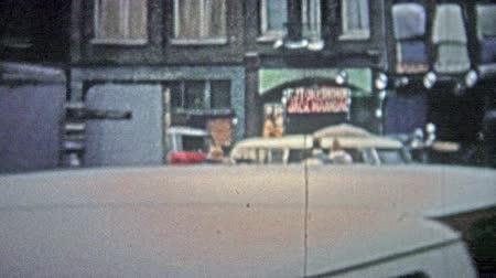 kodaň : COPENHAGEN - 1966: Outdoor market selling 2nd hand goods and services.. Unique vintage 8mm film home movie professionally cleaned and captured in 4k 3840x2160 UHD resolution plus post processing including cinematic retro color correction, manual speed adj