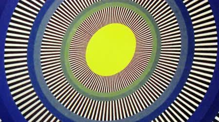 psychoactive : Yellow Egg Sun Oval Optical Illusion  Animation Background . Perfect seamless loop background and special effect psychoactive footage in full color of rotational design and pattern that create a spinning optical illusion vortex that can have mesmerising h Stock Footage