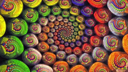 helezon : Colorful Fractal Universe Funnel Animation Background . Perfect seamless loop background and special effect psychoactive footage in full color of rotational design and pattern that create a spinning optical illusion vortex that can have mesmerising hypnot Stok Video