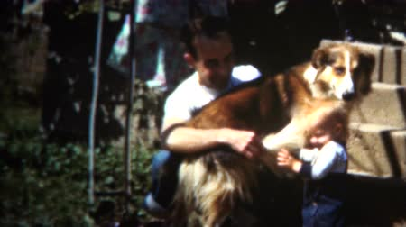 iowa : 8mm Vintage 1950 Iowa Family Happy With Dad Baby and Lassie Dog Stock Footage