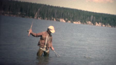 archívum : 8mm Vintage 1968 Man Catching Fish Waders Colorado
