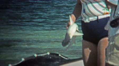 korszak : 1973: Women fishing shark from the depths of the ocean bay. Stock mozgókép