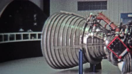 CAPE CANAVERAL, USA -1971: Cape Canaveral space shuttle real engines museum display. Wideo