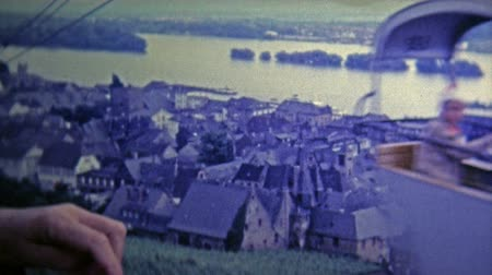 olhares : DUSSELDORF, GERMANY -1969: Old town from chairlift provides a great view of the area.