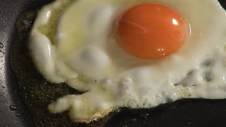 basic steps : Frying an egg in a frying pan Stock Footage