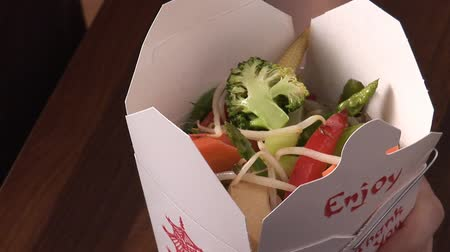 lunch : Asian lunch box containing vegetables Stock Footage