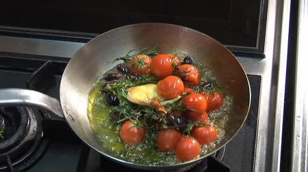 basic steps : Frying tomatoes, garlic, olives and herbs