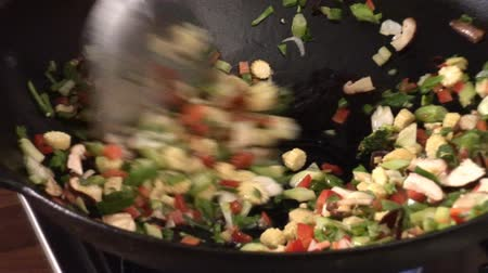 vegetable wok : Stir-frying vegetables in a wok