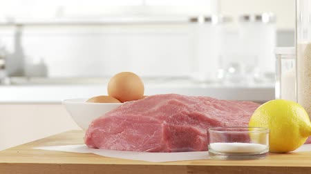 veal escalope : Ingredients for escalope á la viennoise Stock Footage