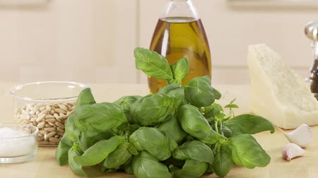 short clip : Ingredients for pesto alla genovese Stock Footage