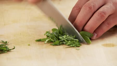 short clip : Basil being chopped
