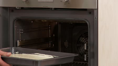 kökenleri : A baking tray of sponge cake being placed in the oven Stok Video