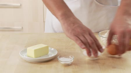 clearing the table : Ingredients for shortcrust pastry Stock Footage