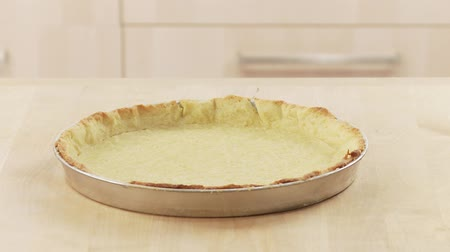 outlinable : Baked shortcrust tart base in the dish Stock Footage