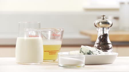creams : Ingredients for gorgonzola sauce: gorgonzola, cream, stock Stock Footage