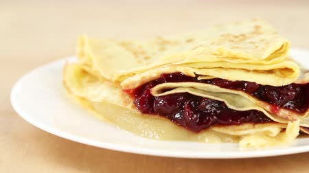 panqueca : Crepes with jam Stock Footage