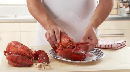 entire : Cooked lobster being served with butter and lemon Stock Footage