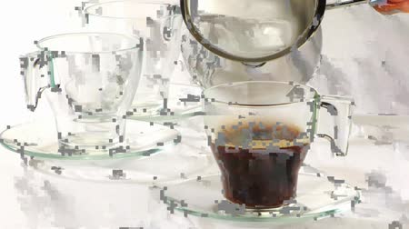 specialties : Pouring milk into coffee Stock Footage