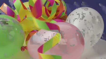 balonlar : Balloons and paper streamers Stok Video