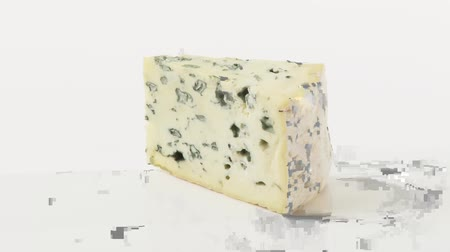 outlinable : A piece of blue cheese Stock Footage