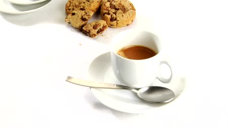 caffe : A cup of caffe crema with cookies