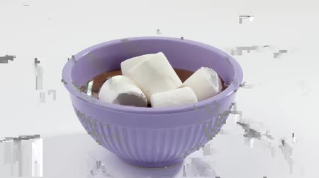 instructies geven : Putting marshmallows in gesmolten couverture chocolade Stockvideo