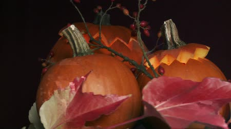 rosehips : Illuminated Halloween pumpkins with autumn leaves and rose hips