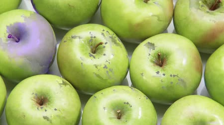 entire frame : Granny Smith apples Stock Footage