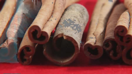 trimmings : Cinnamon sticks on red background Stock Footage