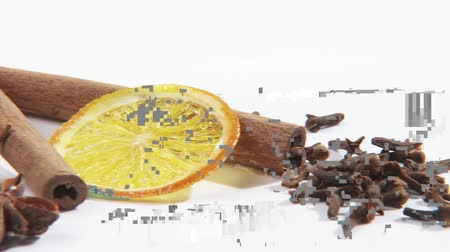 kurutulmuş : Christmas spices and slice of dried orange Stok Video