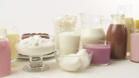soft cheeses : Various dairy products, flavoured milks and cheeses Stock Footage
