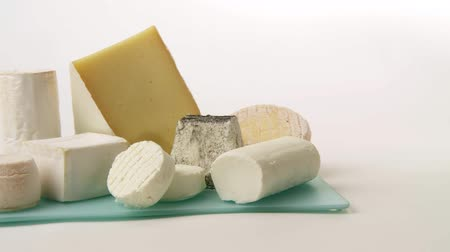 soft cheeses : Various cheeses Stock Footage