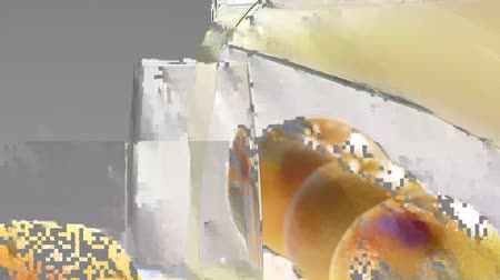poured out : Pouring grapefruit juice from a jug into a glass Stock Footage