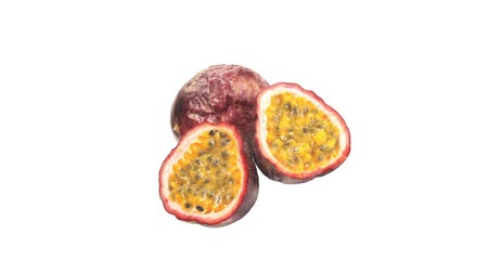 entire : Passion fruit, whole and halved