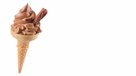 outlinable : Two cones of chocolate soft ice cream Stock Footage