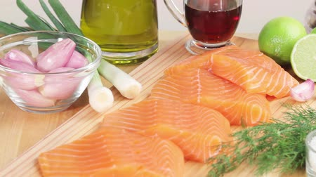 chalota : Salmon fillets and ingredients for marinade Stock Footage