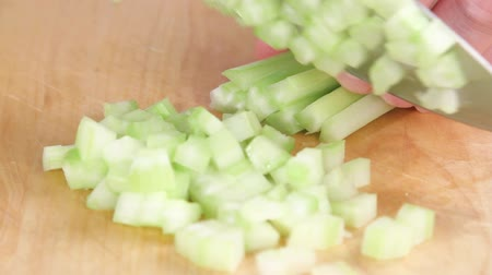 chop up : Celery being diced Stock Footage