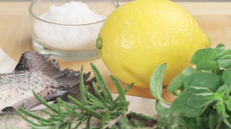 limon : Ingredients for herb trout Stock Footage