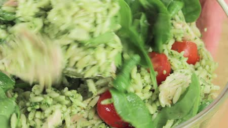 poulet : Chicken and orzo salad being stirred Stock Footage