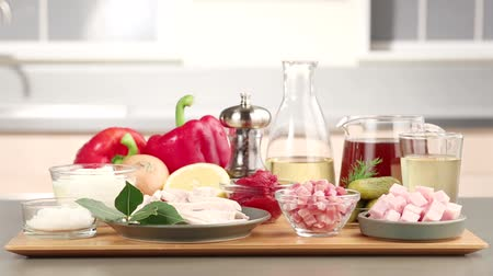 hotpot : Ingredients for solyanka (Russian meat stew with vegetables) Stock Footage